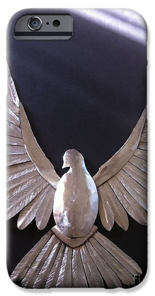 Birds Sculptures iPhone Cases - A Dove of Peace iPhone Case by Melody Ballard