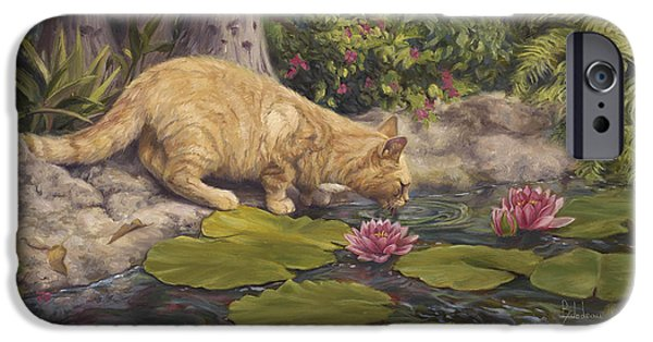 Orange Tabby Paintings iPhone Cases - A Drink At The Pond iPhone Case by Lucie Bilodeau