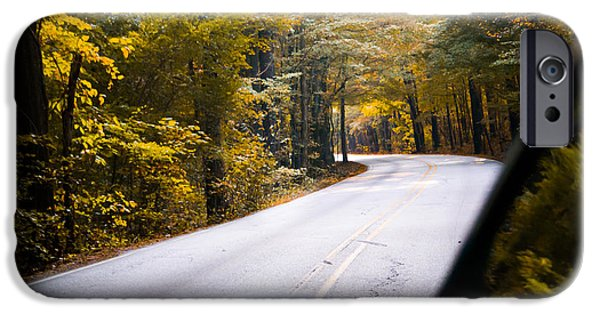 Autumn Scenes iPhone Cases - A Drive Through Autumn iPhone Case by Shelby  Young