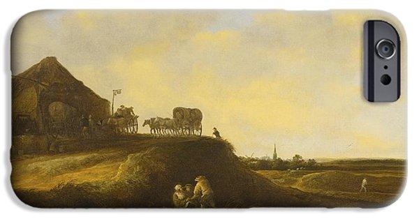Landscape With Figure iPhone Cases - A Dune Landscape iPhone Case by Pieter De Molijn