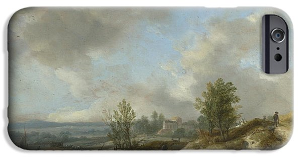 Landscape With Figure iPhone Cases - A Dune Landscape with a River and Many Figures iPhone Case by Philips Wouwerman