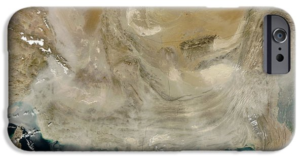Ocean Of Emptiness iPhone Cases - A Dust Storm Stretching From The Coast iPhone Case by Stocktrek Images