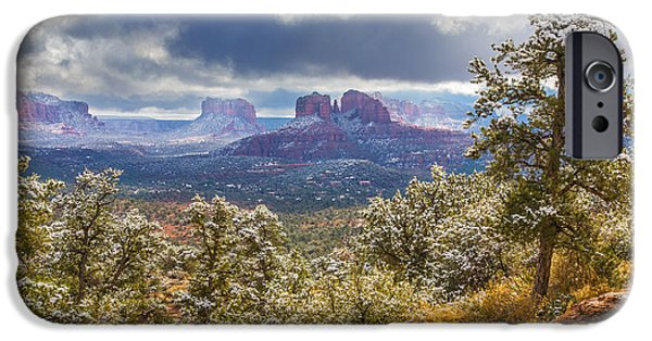 Sedona Pyrography iPhone Cases - A Dusting of Sedona Snow iPhone Case by Mark Greenawalt