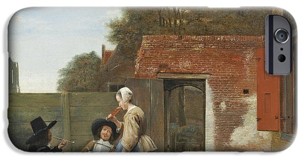 Pipe iPhone Cases - A Dutch Courtyard, C.1658-60 Oil On Canvas iPhone Case by Pieter de Hooch