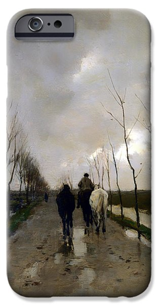 Dark Skies Paintings iPhone Cases - A Dutch Road iPhone Case by Anton Mauve