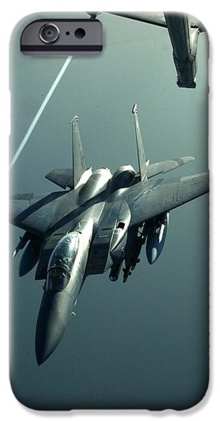Iraq iPhone Cases - A F-15E disengaging from a KC-10 iPhone Case by Celestial Images