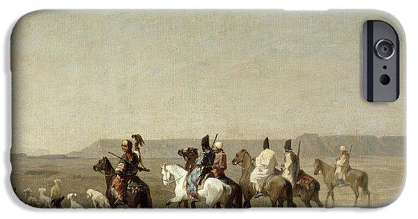 Beach Landscape iPhone Cases - A Falcon Hunt, 1862 Oil On Canvas iPhone Case by Alberto Pasini