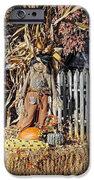 Haybale iPhone Cases - A Fall Scarecrow Display iPhone Case by Kenny Francis