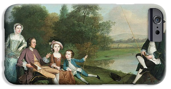 Pastimes iPhone Cases - A Family Of Anglers, 1749 Oil On Canvas iPhone Case by Arthur Devis