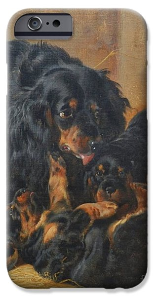 Gordon Setter Puppy iPhone Cases - A Family of Gordon Setters iPhone Case by Celestial Images