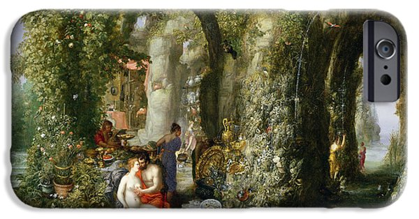 Myth iPhone Cases - A Fantastic Cave With Odysseus And Calypso Oil On Canvas iPhone Case by Jan the Elder Brueghel