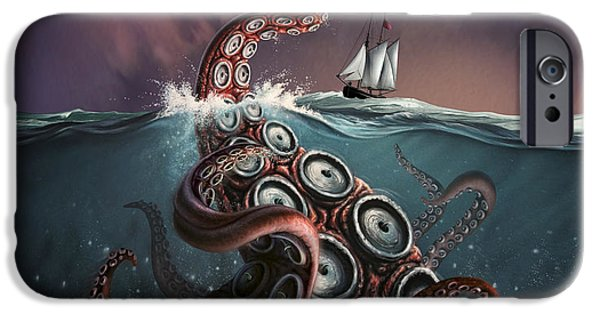 Sailboat Ocean iPhone Cases - A Fantastical Depiction iPhone Case by Jerry LoFaro