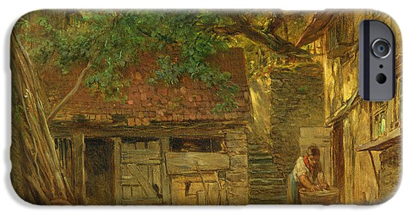 Shed iPhone Cases - A Farmhouse Courtyard, 1862 Oil On Canvas iPhone Case by Anton Burger