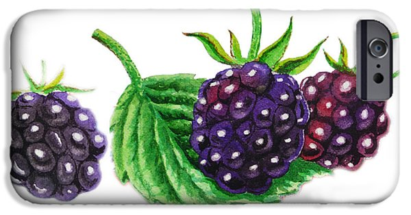 Electronic Paintings iPhone Cases - Just A Few Blackberries iPhone Case by Irina Sztukowski