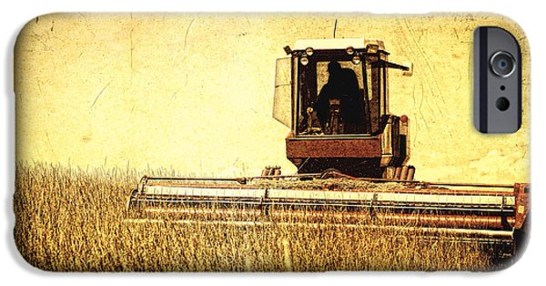 Machinery iPhone Cases - A Field for Harvest iPhone Case by Lincoln Rogers