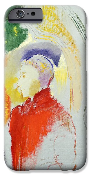 Profile iPhone Cases - A Figure iPhone Case by Odilon Redon