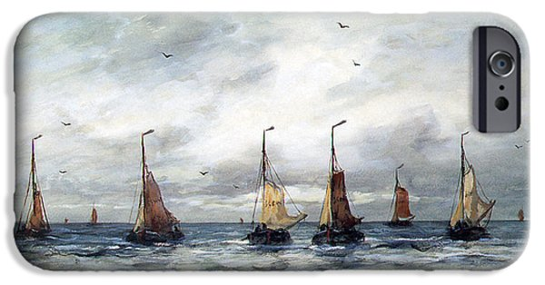 Sailboat Ocean Digital Art iPhone Cases - A Fishing Fleet iPhone Case by Hendrik Willem Mesdag