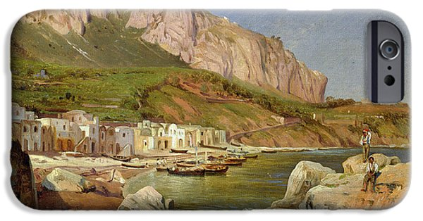 Italian Landscapes Paintings iPhone Cases - A Fishing Village at Capri iPhone Case by Louis Gurlitt