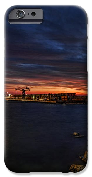 a flaming sunset at Tel Aviv port iPhone Case by Ron Shoshani