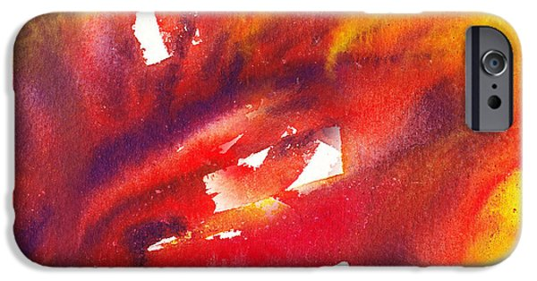 Close Up Floral iPhone Cases - A Floral Flame Abstract iPhone Case by Irina Sztukowski