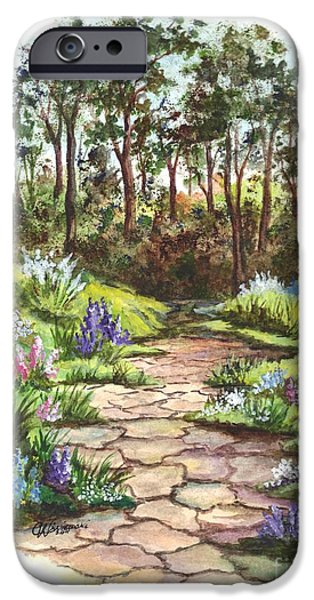 Pathway Drawings iPhone Cases - A Floral Pathway Vignette iPhone Case by Carol Wisniewski