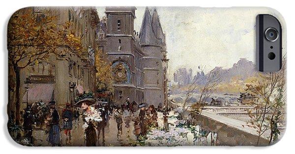 Stein iPhone Cases - A Flower Market Along the Seine iPhone Case by Georges Stein