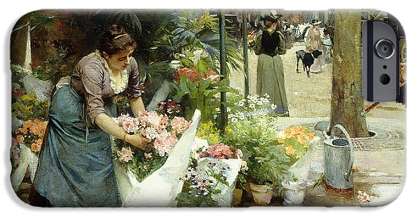 Vendor iPhone Cases - A Flower Market in Paris iPhone Case by Louis de Schryver