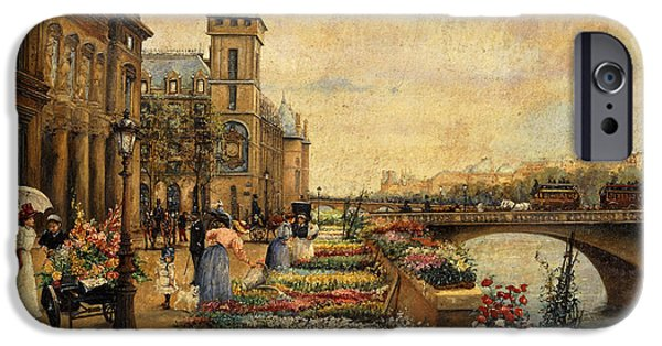 Botanical Figures iPhone Cases - A Flower Market on the Seine iPhone Case by Ulpiano Checa y Sanz