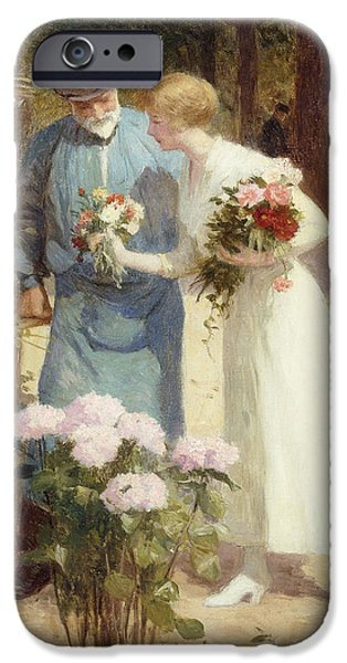 Vendor iPhone Cases - A Flower Market iPhone Case by Victor Gabriel Gilbert