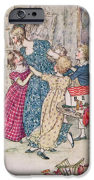 Child iPhone Cases - A Flushed And Boisterous Group, Book Illustration Colour Litho iPhone Case by Arthur Rackham