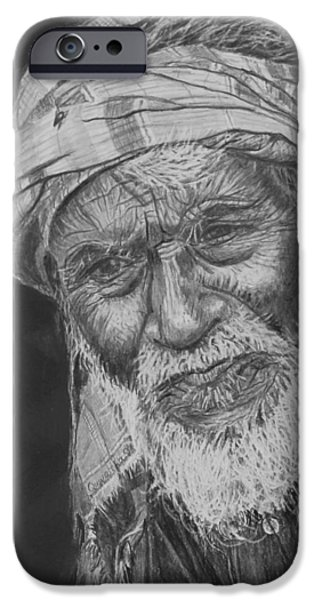 Old Man With Beard iPhone Cases - A Fly on his Turban iPhone Case by Quwatha Valentine