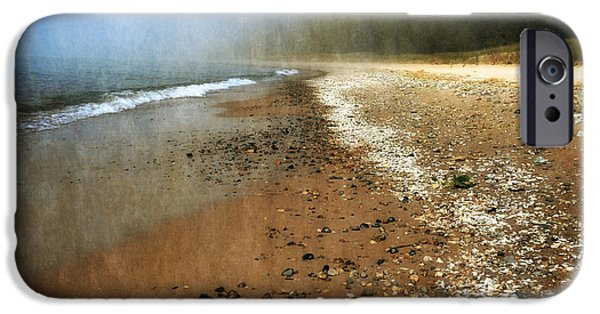 Michelle Photographs iPhone Cases - A Foggy Day at Pier Cove Beach 2.0 iPhone Case by Michelle Calkins