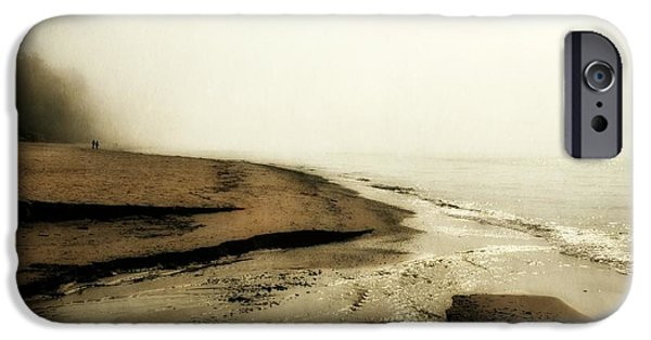 Michelle Photographs iPhone Cases - A Foggy Day at Pier Cove Beach iPhone Case by Michelle Calkins
