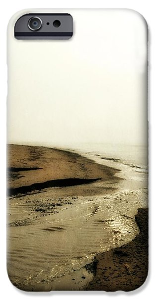 A Foggy Day at Pier Cove Beach iPhone Case by Michelle Calkins