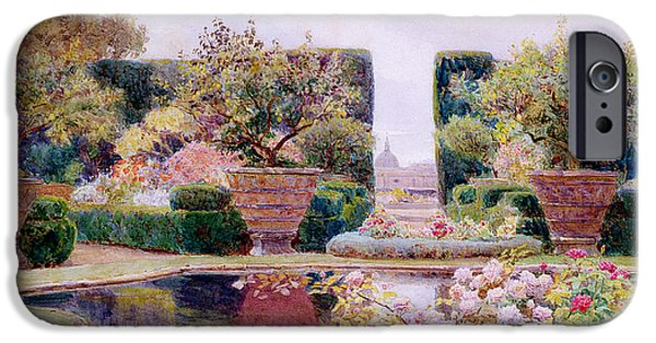 Garden Art iPhone Cases - A Formal Garden in Rome iPhone Case by George Samuel Elgood