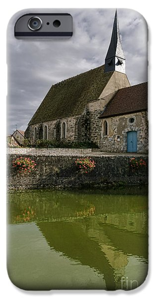 Farm Building iPhone Cases - A French Village Church iPhone Case by Olivier Le Queinec