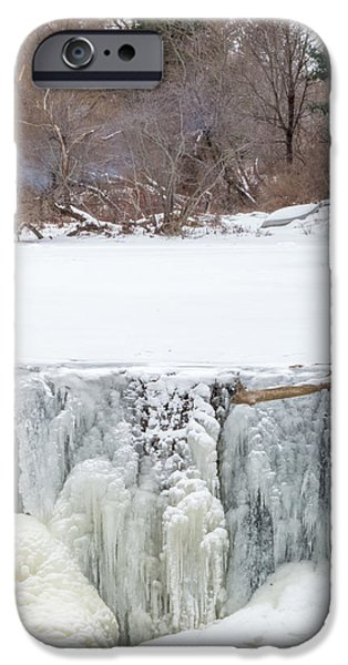 Winter In Maine iPhone Cases - A Frozen Waterfall Barbecue   iPhone Case by Stroudwater Falls Photography