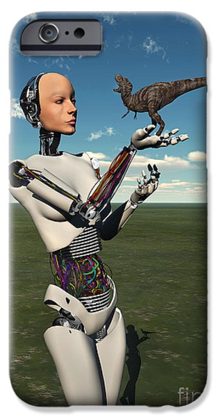 Virtual iPhone Cases - A Futuristic Android Holding A Baby iPhone Case by Mark Stevenson