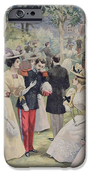 Pastimes iPhone Cases - A Garden Party at the Elysee iPhone Case by Fortune Louis Meaulle