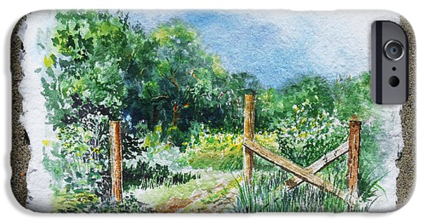 Impressionistic Landscape Paintings iPhone Cases - A Gate To The Ranch Briones Park California iPhone Case by Irina Sztukowski