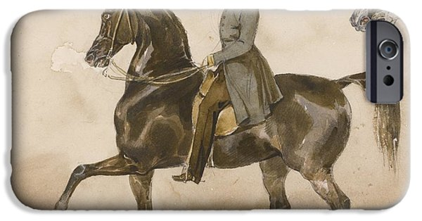 The Horse iPhone Cases - A Gentleman On Horseback iPhone Case by Theodore Gericault