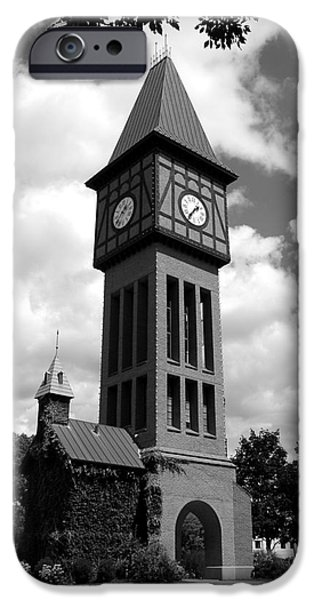 Covington iPhone Cases - A German Bell Tower bw iPhone Case by Mel Steinhauer