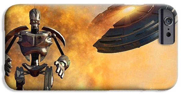 Strange iPhone Cases - A Giant Robot And Ufo On The Attack iPhone Case by Mark Stevenson