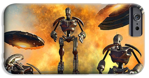 Strange iPhone Cases - A Giant Robot Force On The Attack iPhone Case by Mark Stevenson