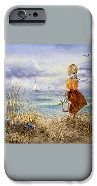 A Girl And The Ocean iPhone Case by Irina Sztukowski