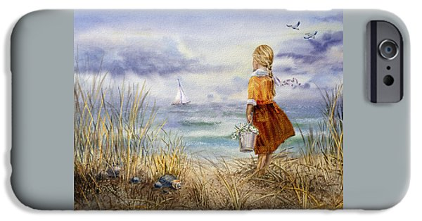 Storm Paintings iPhone Cases - A Girl And The Ocean iPhone Case by Irina Sztukowski