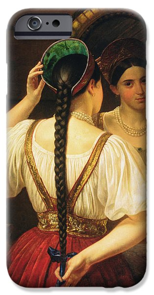 Cat Reflection iPhone Cases - A Girl At The Mirror, 1848 Oil On Canvas iPhone Case by Philipp Osipovich Budkin