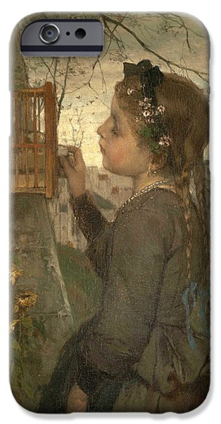 Cage Paintings iPhone Cases - A Girl feeding a Bird in a Cage iPhone Case by Jacob Maris