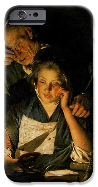 Quill iPhone Cases - A Girl Reading A Letter, With An Old Man Reading Over Her Shoulder, C.1767-70 iPhone Case by Joseph Wright of Derby
