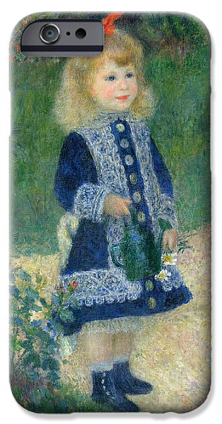 Auguste iPhone Cases - A Girl with a Watering Can iPhone Case by Auguste Renoir